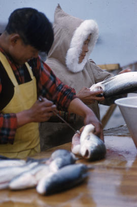 Photograph of a man and a woman cleaning fish in George River, Quebec