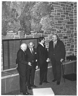 Photograph of Henry Hicks and others at the opening of the Student Union Building