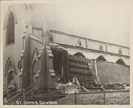 Photograph of the damage to St. John's Church after the Halifax explosion