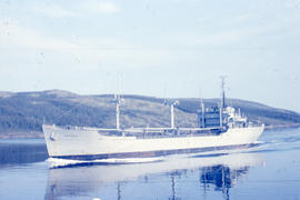 Photograph of a large ship in the narrows of Goose Bay, Newfoundland and Labrador