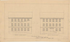 Technical drawing of the west and east elevations of a Dalhousie arts building