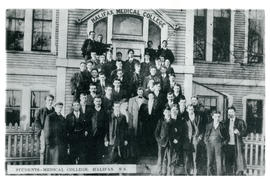 Photograph of group of students in front of Halifax Medical College
