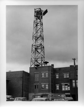 Photograph of the tower on the Island Telephone Company's central office, taken from the parking lot