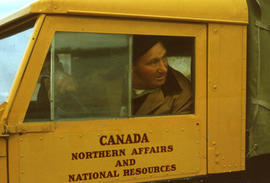 Photograph of a man in a truck in Frobisher Bay, Northwest Territories