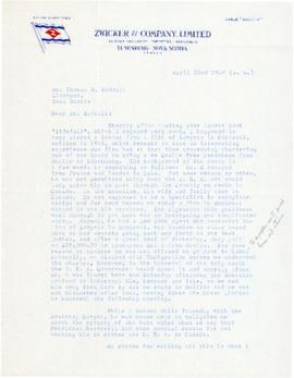 Correspondence between Thomas Head Raddall and Homer F. Zwicker