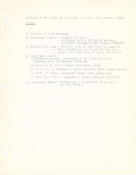 Agenda and minutes from Board of Directors meeting held on September 30, 1982