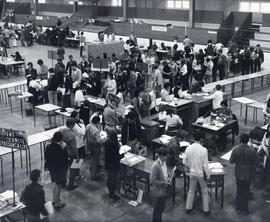 Photograph of students registering for classes at Dalhousie University