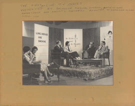 Photograph of the set of a live television series presented by the Dalhousie Medical School audio...