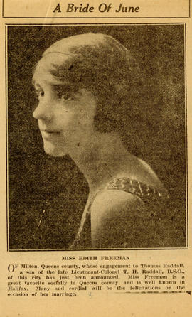 Newspaper clipping with a print photograph of Edith Freeman and an announcement for her engagemen...