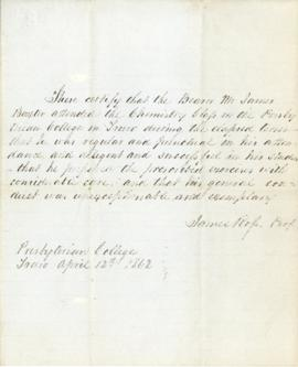 Letter from James Ross certifying that James Baxter attended a chemistry class