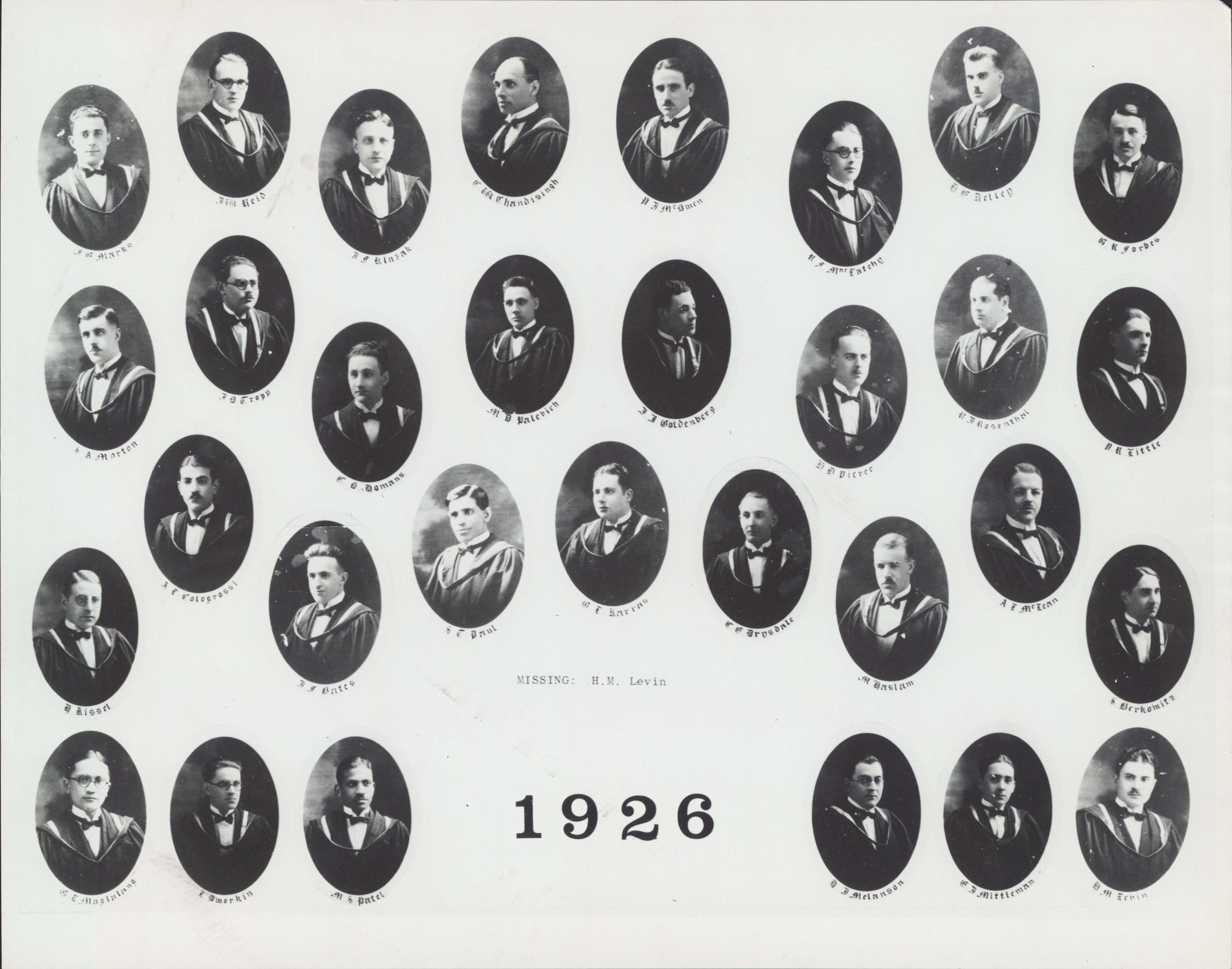 Faculty of Medicine Class Photograph - 1926 - Archives Catalogue
