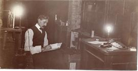 Photograph of Arthur Stanley MacKenzie in the Cavendish Laboratory at Cambridge University