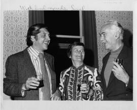 Photograph of Elisabeth Mann Borgese and two unidentified men