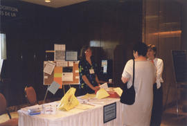 Photograph of  table at a health-related conference