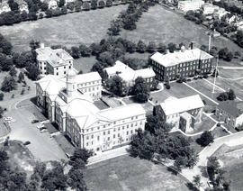 Aerial photograph of the Studley campus
