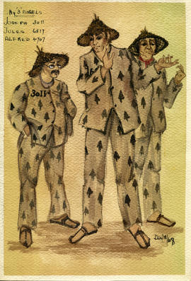 Watercolour costume designs featuring three men in Asian costumes