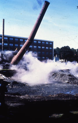 Photograph of demolition of Medical-Dental Library, falling support