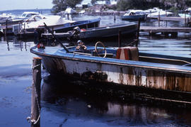Photograph of an oiled boat at Alexandria Bay, New York