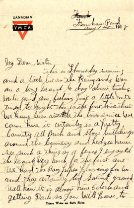 Letter from William Morash to his sister Gertrude dated 1 August 1918