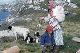 Photograph of a woman, a child, and dogs in the eastern Arctic
