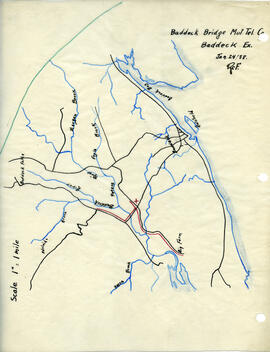 Map of Baddeck Bridge Mutual Telephone Company's telephone line