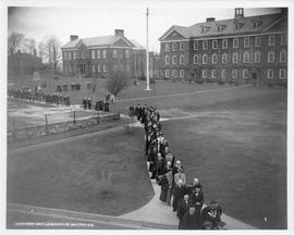 Photograph of a procession across Studley campus