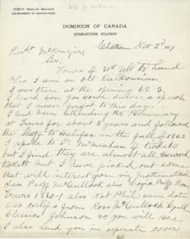 Letter from James Baxter to President MacKenzie about his tickets and notebooks