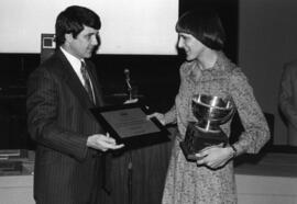 Photograph of Anne Lindsay and Dr. Larry Maloney : Class of '55 Trophy presentation
