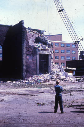 Photograph of demolition of Medical-Dental Library, doorway demolition