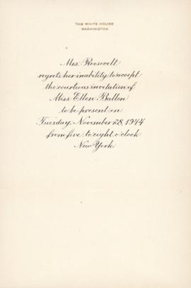 Anna Eleanor Roosevelt's response to invitation from Ellen Ballon