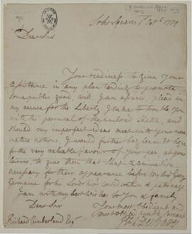 Letter from J.F.W. DesBarres to Lord George Germaine, London, furnishing plans with estimates sub...