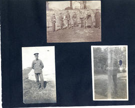 Scrapbook page with photographs of T.H. Raddall, Sr. in military uniform and standing with other ...