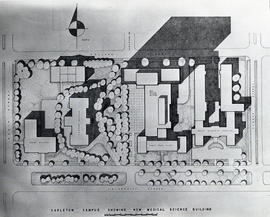 Photograph of a blueprint of Carleton Campus, Dalhousie  University