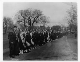 Photograph and a photographic negative of the Convocation Procession
