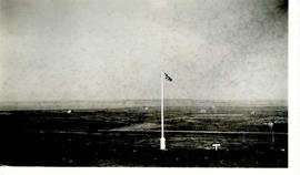 Photograph of a flag at Fort Beausejour looking southwest towards Westcock