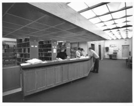 Photograph of a service desk in the Sir James Dunn Law Library