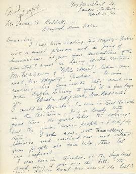Correspondence between Thomas Head Raddall and Reva Chandler