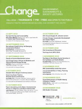 Poster for the fall 2018 Change Environment, Sustainability and Society lecture series