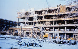Photograph of construction of the Tupper Building, five floors high