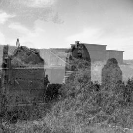 Double exposure photograph of a graveyard