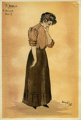 Watercolour costume design featuring a women in a brown dress