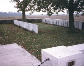 Photograph of two rows of headstones in the Manitoba Cemetery near Caix, France