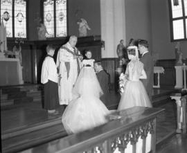 Photograph of Mr. & Mrs. Wright at their wedding ceremony
