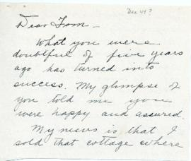 Correspondence between Thomas Head Raddall and Eva C. Pye