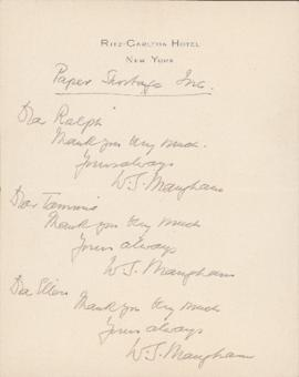 Letter from William Somerset Maugham to Ralph Gustafson, Sally Ryan, and Ellen Ballon