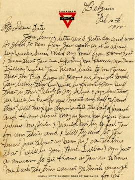 Letter from Weldon Morash to his sister Gertrude dated 10 February 1919
