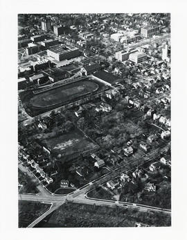 Aerial photograph of the proposed site of the Dalplex before construction