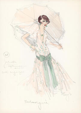 Costume design for Juliette in afternoon dress