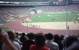 Photograph of the men's 500 metres with the Canadian competitor in the lead