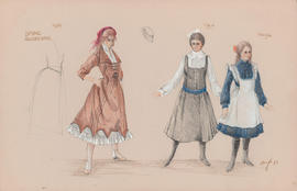 Costume designs for Ilse, Thea, and Martha
